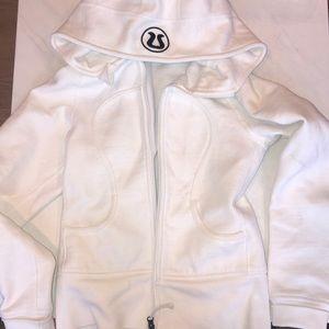 White Lululemon zip-up hoodie